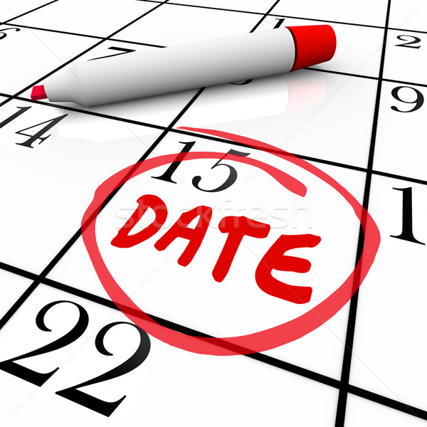 Stock photo: Date Word Circled Calendar Day Red Marker
