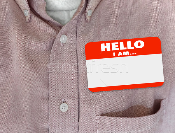 Hello délelőtt névtábla matrica piros póló Stock fotó © iqoncept