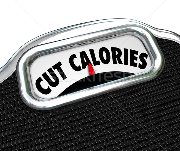 Cut Calories Scale Words Dieting Lose Weight Eating Less Stock photo © iqoncept