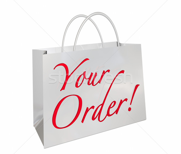 Your Order Shopping Bag New Merchandise Ready Words 3d Illustrat Stock photo © iqoncept