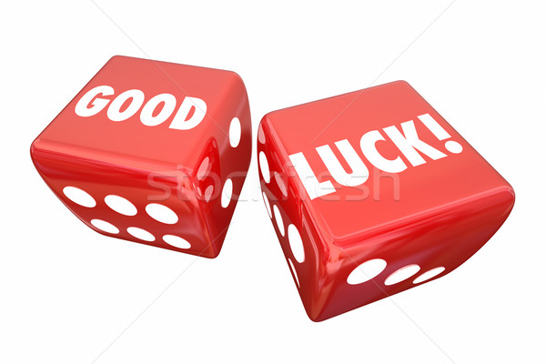 Good Luck Wish Two Red Dice Words 3d Illustration Stock photo © iqoncept