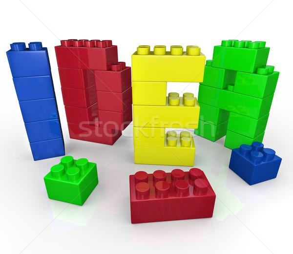 Idea Word in Toy Building Blocks Creative Play Stock photo © iqoncept