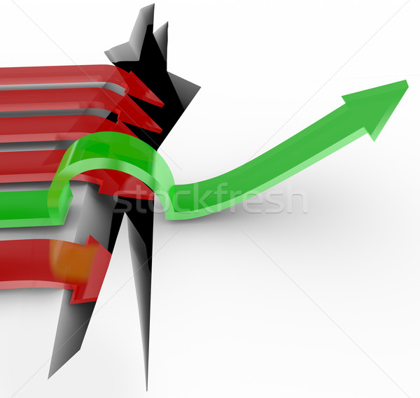 One Arrow Jumps Over Hole, Others Fall Into Pit Stock photo © iqoncept
