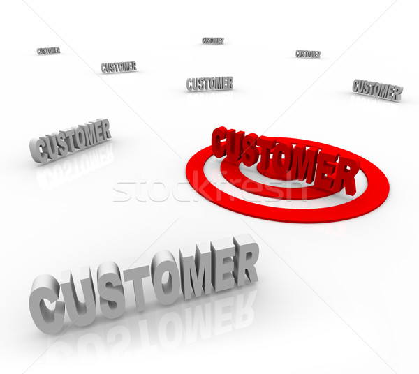 Stock photo: Targeting a Customer - Bulls-Eye on Word