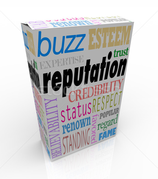 Reputation Words on Box Credible Reliable Product Stock photo © iqoncept