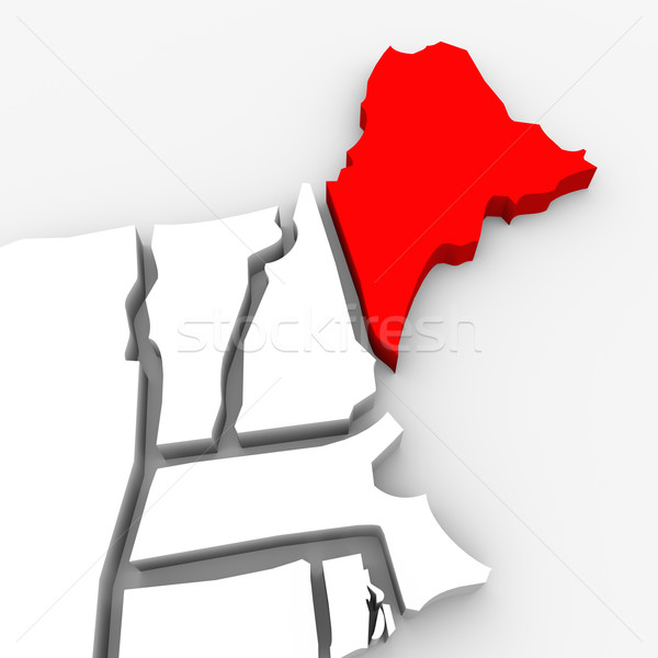 Stock photo: Maine Red Abstract 3D State Map United States America