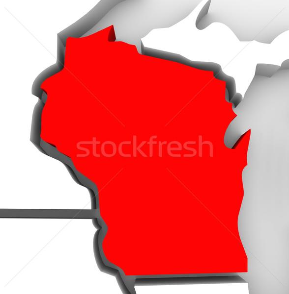 Stock fotó: Wisconsin · piros · absztrakt · 3D · térkép · Egyesült · Államok