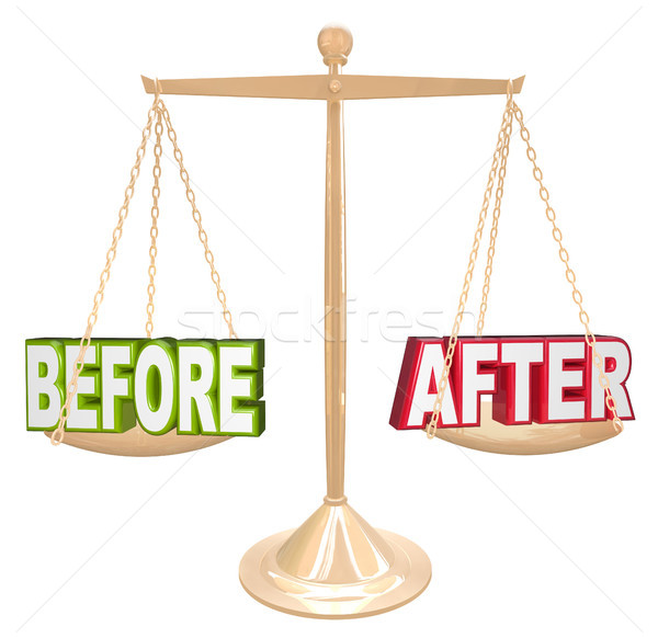 Before and After Words Scale New Results Time Comparison Stock photo © iqoncept