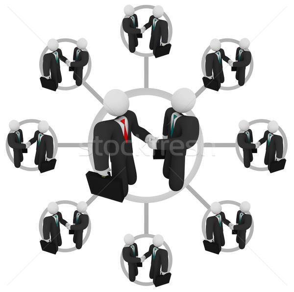 Handshake business network ilustracja jeden działalności Zdjęcia stock © iqoncept