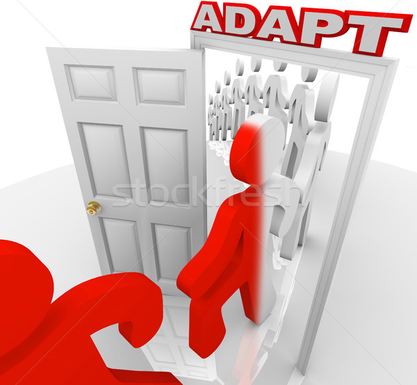Adapt People March Through Doorway Adapting to Change Stock photo © iqoncept