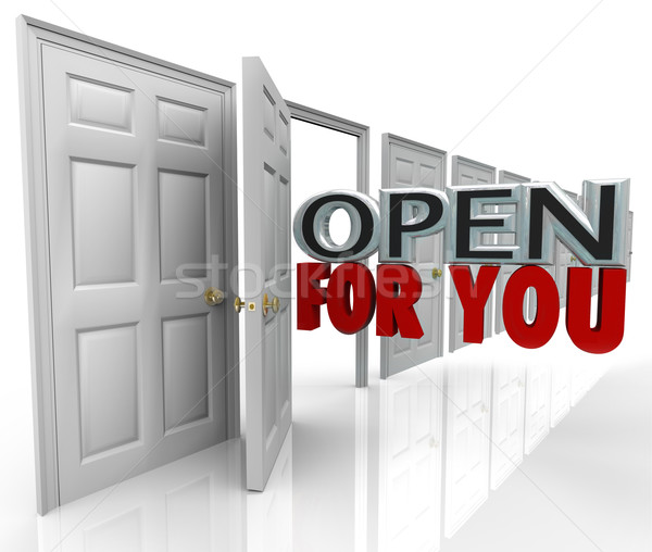 Abrir porta abertura palavras sempre bem-vindo Foto stock © iqoncept
