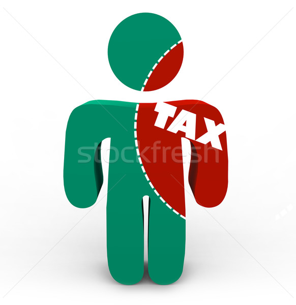 Pain of Taxes - Tax Cut-Out of Person Stock photo © iqoncept