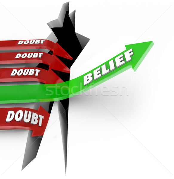 One Arrow of Belief Beats Doubt Confidence Vs Uncertainty Stock photo © iqoncept