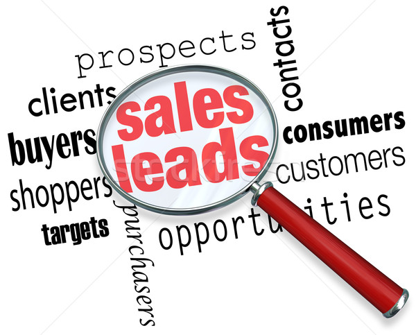 Sales Leads Magnifying Glass Looking Searching Customers Prospec Stock photo © iqoncept