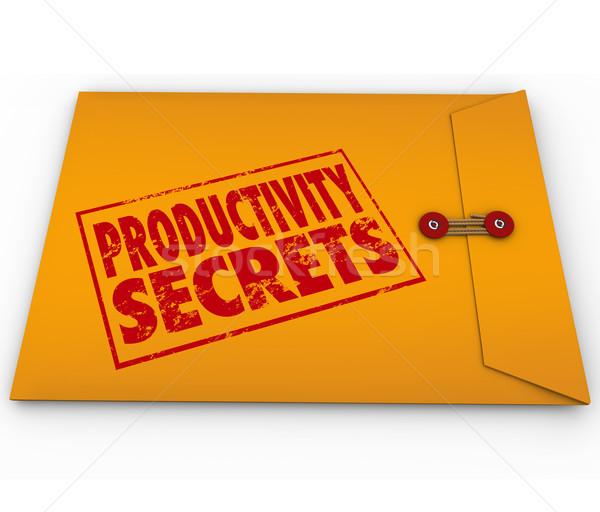Produktivitás titkok citromsárga boríték tippek segítség Stock fotó © iqoncept