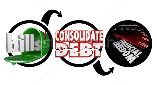 Bills Consolidate Debt Financial Freedom Diagram Reduce Money Ow Stock photo © iqoncept