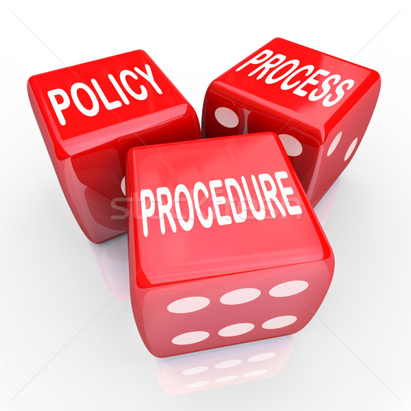 Policy Process Procedure 3 Red Dice Company Rules Practices Stock photo © iqoncept