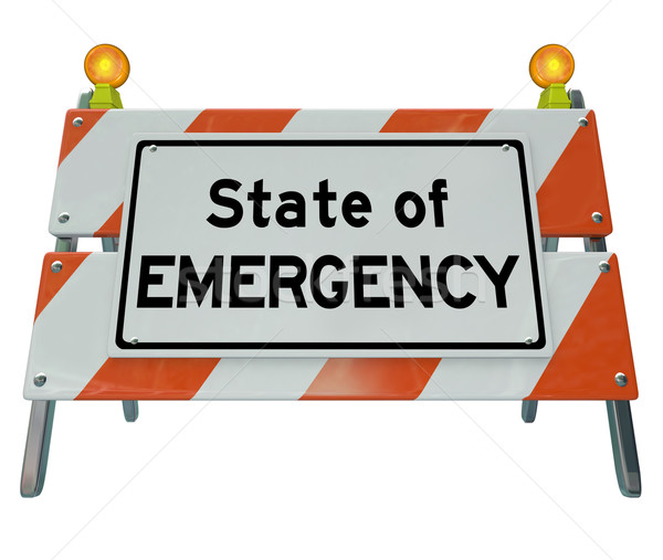State of Emergency Words Road Construction Barricade Warning Sig Stock photo © iqoncept