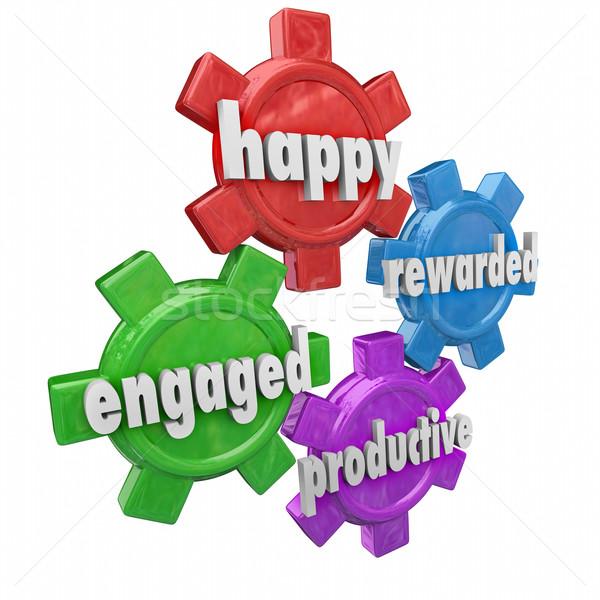 Boldog produktív eljegyezve hatékony munkaerő szavak Stock fotó © iqoncept