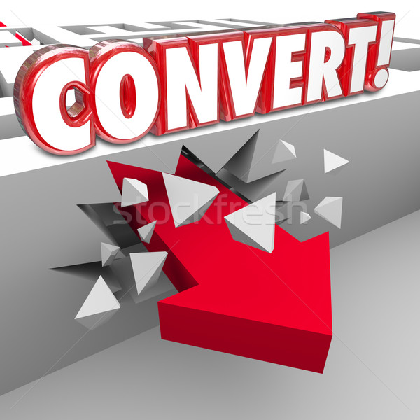 Convert 3d Word Arrow Through Maze Selling to Customers Stock photo © iqoncept