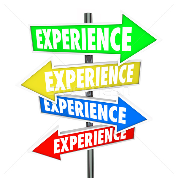Experience Background Skills Education Know-How Arrow Signs Stock photo © iqoncept