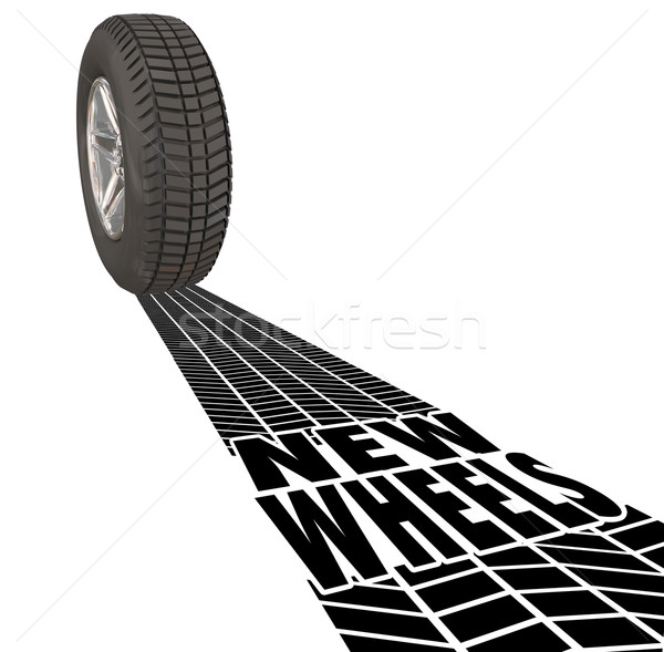 New Wheels Car Tire Tracks Vehicle Product Upgrade Review Stock photo © iqoncept
