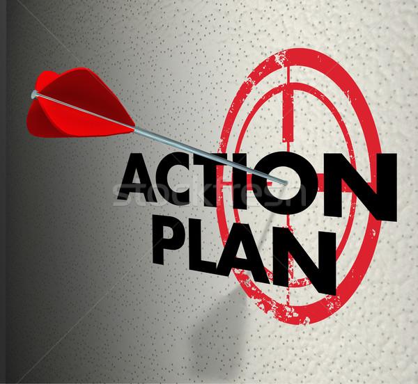 Action Plan Arrow Hitting Target Aim Focus Goal Objective Stock photo © iqoncept