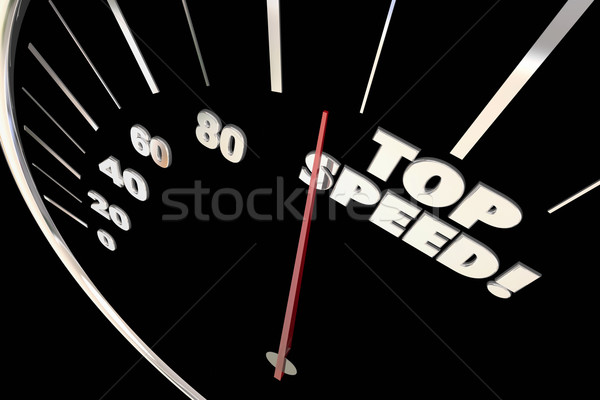 Top Speed Fast Response Service Speedometer Words 3d Illustratio Stock photo © iqoncept
