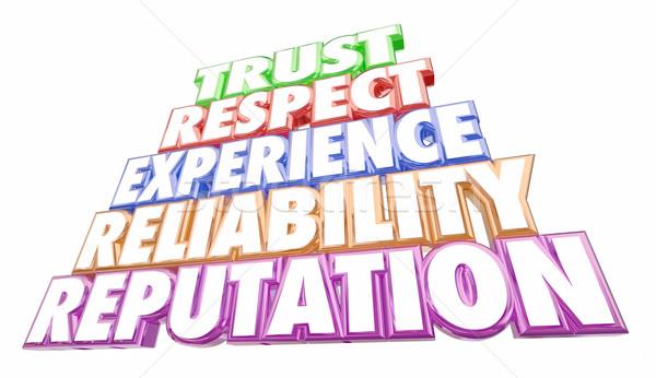 Confiance expérience fiabilité mots 3d illustration affaires Photo stock © iqoncept