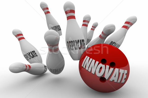Innovate Vs Replicate Bowling Ball Strike 3d Illustration Stock photo © iqoncept
