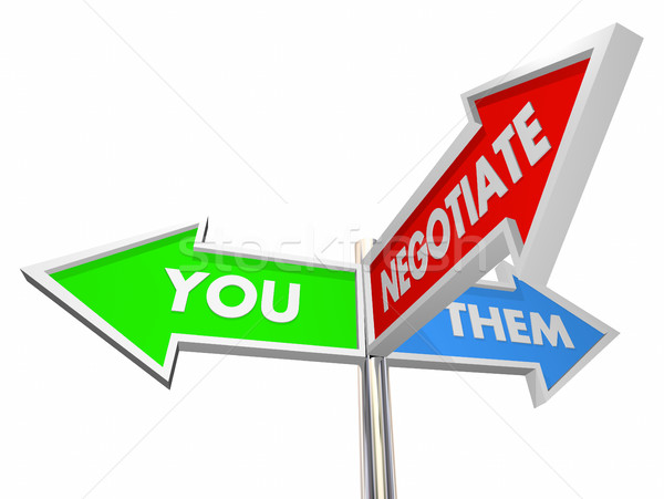 You Them Negotiate Compromise Settlement Three Way Signs 3d Illu Stock photo © iqoncept