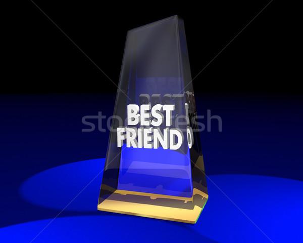 Mejor amigo adjudicación premio trofeo ganador Foto stock © iqoncept