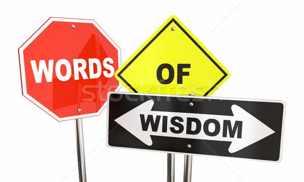 Palavras sabedoria sinais aviso cautela segurança Foto stock © iqoncept