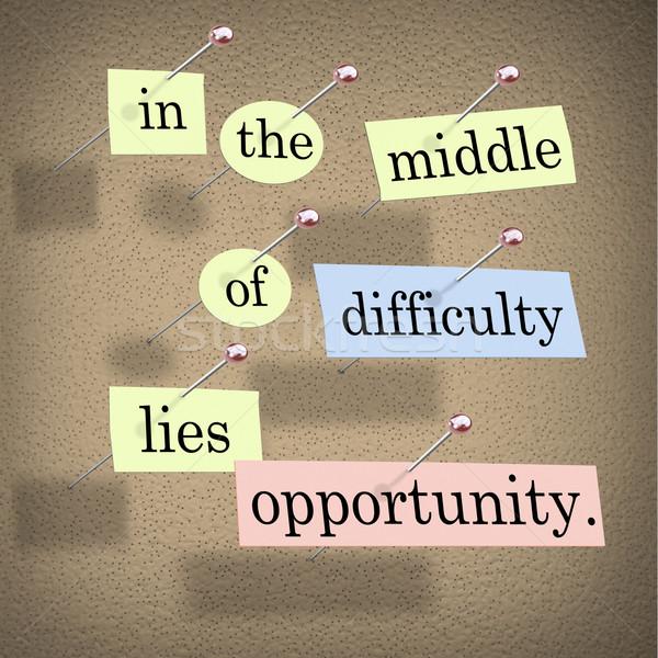 Moeilijkheid gelegenheid stukken papier woord Stockfoto © iqoncept