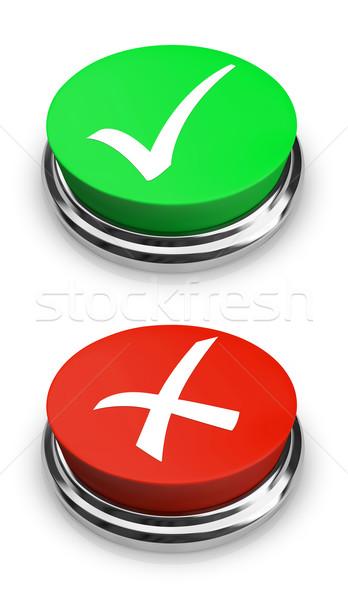 Zielone czerwony tak nie przyciski dwa Zdjęcia stock © iqoncept