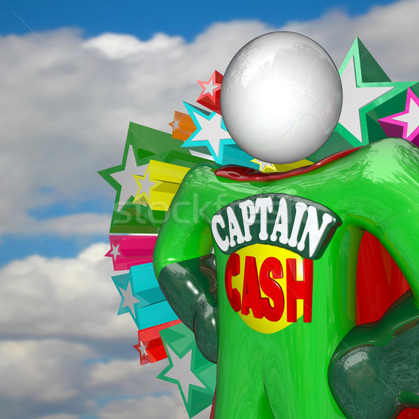 Captain Cash Super Hero Fights for Lower Prices to Save Money Stock photo © iqoncept