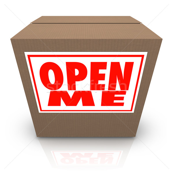 Open Me Label on Cardboard Box Mystery Present Package Stock photo © iqoncept