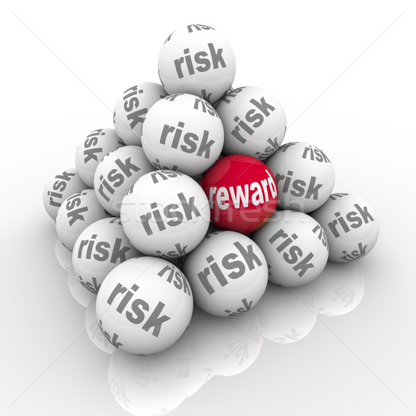 Risk Vs Reward Pyramid Balls Return on Investment Stock photo © iqoncept