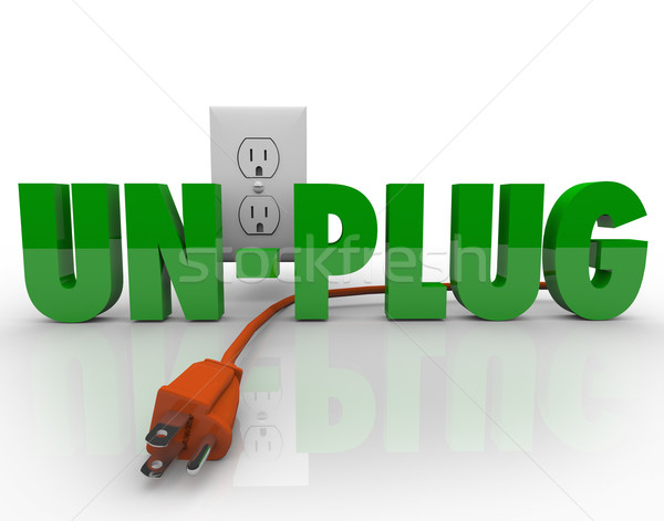 Unplug Cord Electrical Outlet Electricity Power Reduction Stock photo © iqoncept