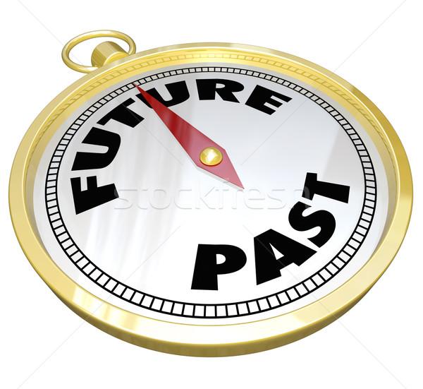 Toekomst verleden kompas nieuwe gelegenheid woorden Stockfoto © iqoncept