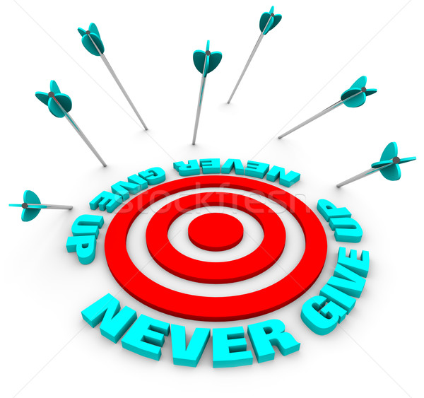 Arrows Miss Bulls-Eye - Never Give Up Stock photo © iqoncept