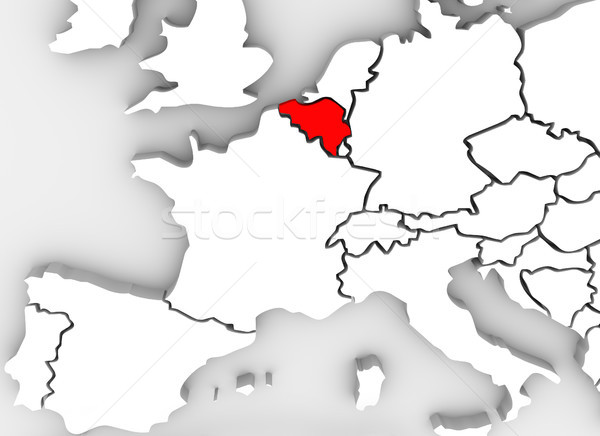 Belgium Country 3D Abstract Illustrated Map Europe Continent Stock photo © iqoncept