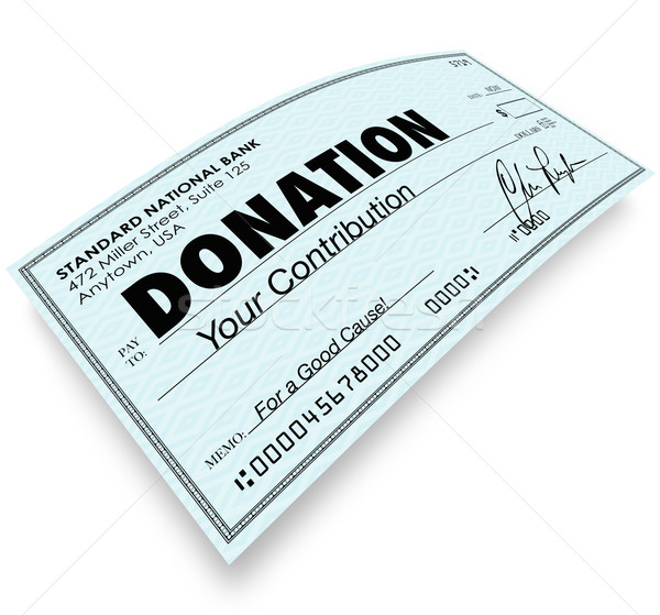 Donation Check Word Money Gift Contribution Stock photo © iqoncept