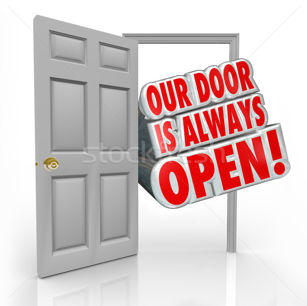 Deur altijd Open uitnodiging welkom binnenkant Stockfoto © iqoncept