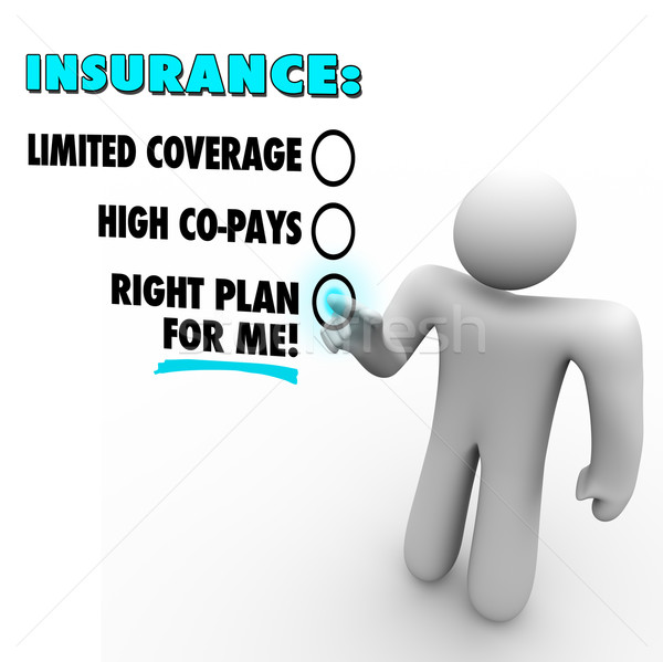 Insurance Choices Right Plan Vs Limited Coverage High Copay Stock photo © iqoncept