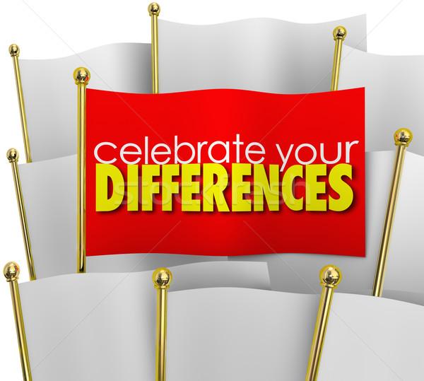 ünnepel különbségek egy egyedi zászló kitűnik a tömegből Stock fotó © iqoncept