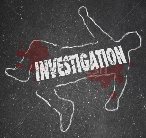Investigation Crime Scene Chalk Outline Word Stock photo © iqoncept