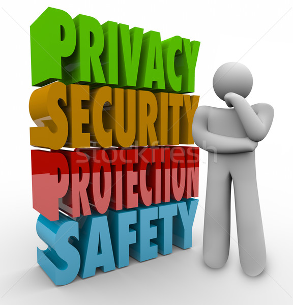 Privacy Security Protection Safety Thinker 3d Words Stock photo © iqoncept