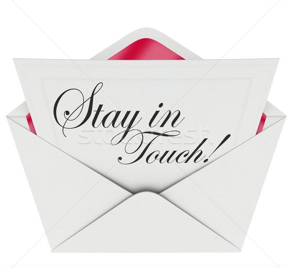 Blijven touch brief communicatie woorden geschreven Stockfoto © iqoncept