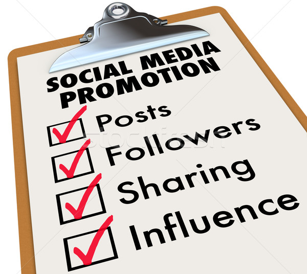 Social Media Promotion Checklist Posts Followers Sharing Influen Stock photo © iqoncept